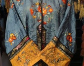 SALE  Stunning 1920s/1930s Blue Silk Chinese Embroidered Robe/Pants Set