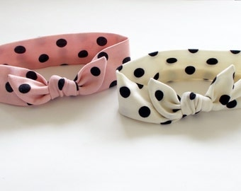 Baby Shower Gift Baby Girl Headband Ivory or Pink Headband Polka Dot Headband Knotted Bow Headband