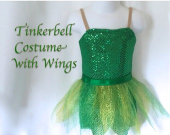 5/6/6x Tinkerbell-inspired Fairy Costume Green sparkle with Leaf Skirt and Fairy Wings