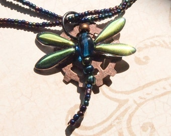 Glass beaded dragonfly with beaded chain