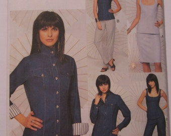 Misses Jacket, Top, Skirt and Pants Sewing Pattern Sizes 8 10 12 UNCUT Vogue 7737