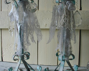 Shabby Chic Vintage Aqua White Rusty Chippy Paint Iron Candle Sticks Old Laces Crystal Prisms Hand Dyed Ribbon Elegant Beach Cottage