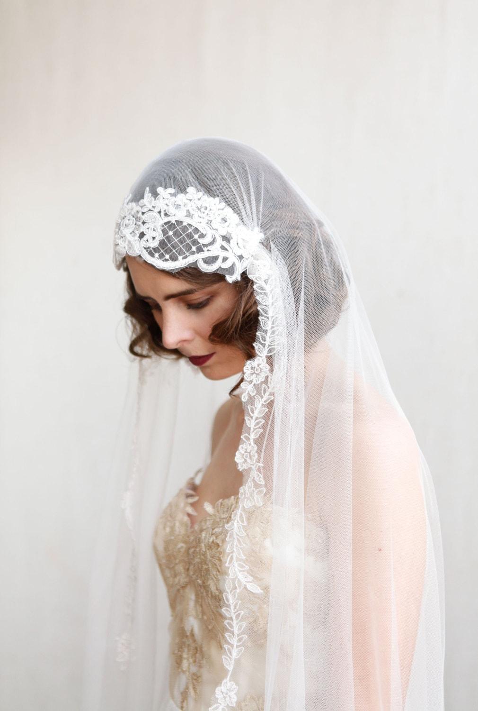 1920s Wedding Veil Ivory Chapel Length Veil Art Deco