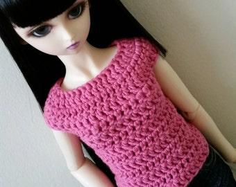 SD / SD13 Pink Sweater, Short Sleeve Shirt, Crochet, for Girl BJD