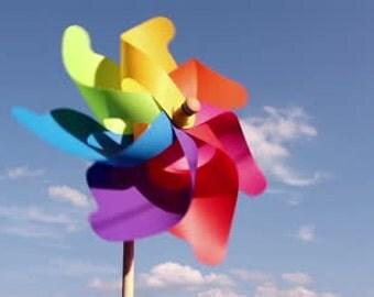 Pinwheels Rainbow Favors Rainbow Birthday Party Favors Set of 4 Rainbow Pinwheels Birthday Favors Party Decoration Garden Art
