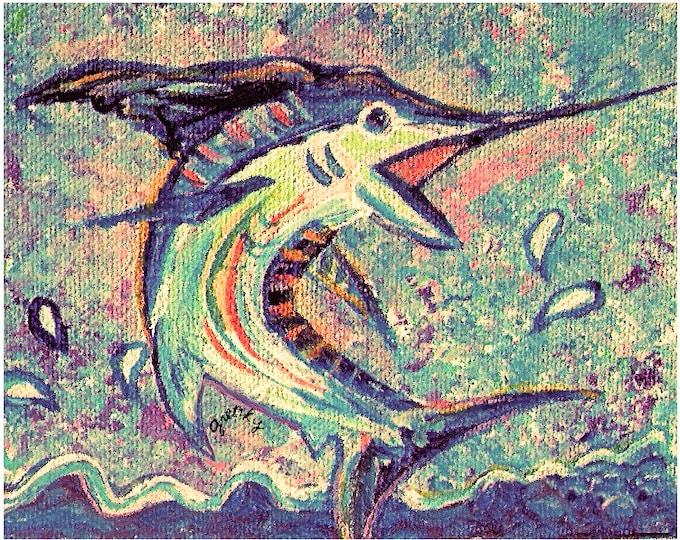 Jumping Marlin Print