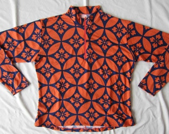 1X-Women's Cycling Jersey Top Mid-Centry inspired Print Long sleeve