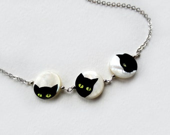 Black Cat Necklace, cat pendant painted on mother of pearl, cat lovers gift, sale jewelry