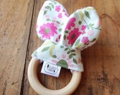 Bunny Biter - Natural Maple Teether with removable fabric ears - sweet floral