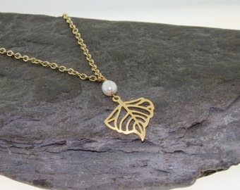 Gold and Pearl Leaf Pendant