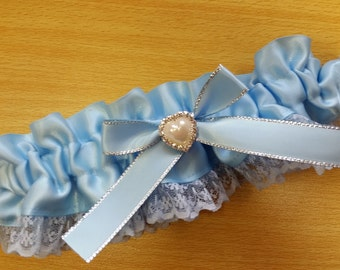 something blue Wedding Garter , beautiful blue satin and blue Lace with a pearl