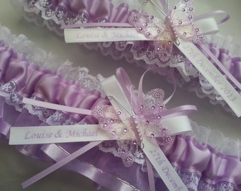 Lilac violetta and white Wedding Garter Set, lace garter set  personalized name butterfly garter