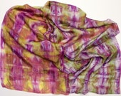 Hand-Dyed Silk - Nuno - Scarf - 5mm Silk Habotai - Violet, Golden Yellow, Leaf Green and White - Wearable art Cloth  - Shibori - Lightweight