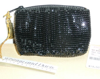 Whiting and Davis Black Mesh Zippered Change Purse - New Vintage