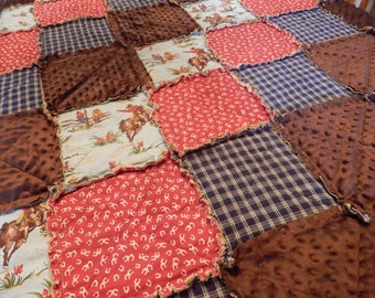 Twin Size Quilt, Country Western Quilt, Cowboy Blanket, Cowgirl Bedding, Horse Rag Quilt, Handmade in NJ