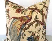Waverly Olana Jewel - Decorative Designer Bird Pillow Cover - Chinoiserie - russet - sage - wedgewood blue - olive