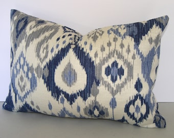 All Sizes / Blue Ikat Decorative Pillow Cover / Both Sides / Gunnison / Navy Blue / Light Blue / Grey and Ivory