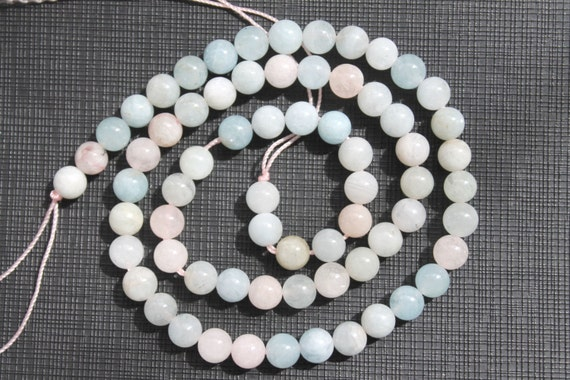 6mm Multicolor Natural Aquamarine Morganite Beryl Smooth Round Beads 16 Inch Strand