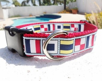 """Sale Dog Collar Nautical Flags Blue 1"""" wide Quick Release adjustable buckle - martingale style is cost upgrade"""