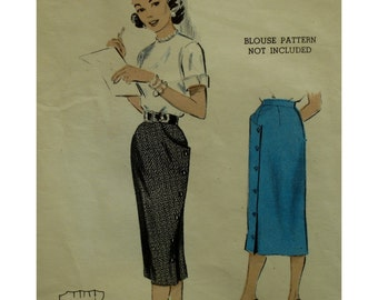 "1950s Pencil Skirt Pattern, Fitted Wrap, Shaped Side Pocket, Button Side Closure, Butterick No. 6654 Size Waist 24""(61cm) Hip 33"" (84cm)"