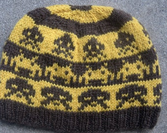 Space Invaders Wool Beanie: Gold and Brown Stripes