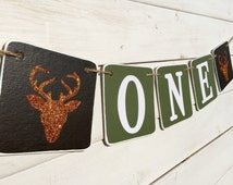 ONE Birthday Banner, Baby Boy, Hunting Banner, Boys Photo Prop, Baby photo prop, orange and green, deer banner