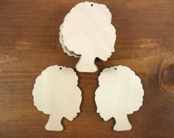 """African Woman Head Wood Dangle Earring Pendant 3"""" H Laser Cut Jewelry Shapes - 12 Pieces"""