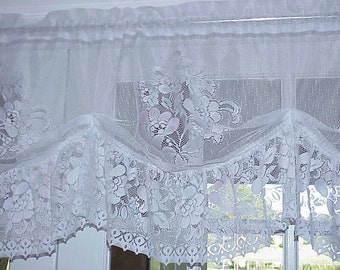 Free Shipping..Vintage Victorian Style Floral Lace Curtain Valance 56 inches Wide with Ruffle