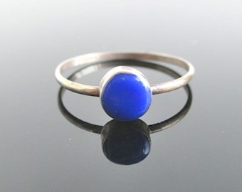 925 Sterling Silver & Deep Blue Inlay Ring / Band - Size 6 1/2