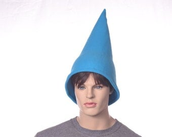 Teal Blue Gnome Hat 15 Inch Tall Pointed  Cap Unisex Adult Man Woman Turquoise Pointy Cap Fleece Hat