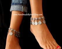 Antique Silver plated Belly dancer Turkish Floral and dangle replique coins Anklet Gypsy Vintage look Beach wedding foot jewelry By Inali