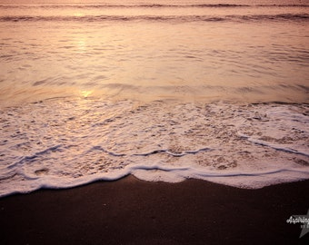 Beach Print, Pink and gold Sunrise, Beach Photo, Beach Sunrise Wall Art, Pink and gold, Water print, Wave Photo, Sunrise beach