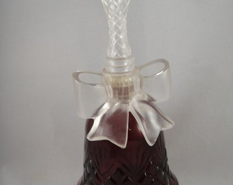 Crystalsong Glass Bell Shaped Decanter Avon Red Glass Clear Plastic Lid