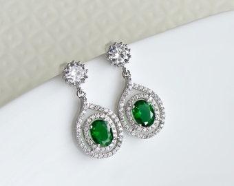 Green Emerald Cubic Zirconia Teardrop Stud Earrings, CZ Earrings, Bridesmaids Earrings, Prom Earrings, Green Clover Cubic Zirconia Earrings