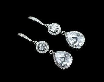 Bridal Earrings, Cubic Zirconia Bridal Earrings, Bridal Jewelry,Wedding Jewelry,Cubic Zirconia Bridal Jewelry,Cubic Zirconia Bridal Earrings