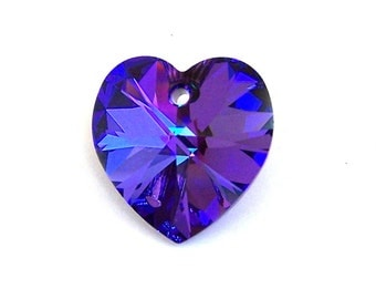 Heliotrope Swarovski heart pendant, 18mm purple heart crystal pendant, blue Heliotrope 18mm pendant