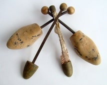Collection of Metal and Wood Shoe Stretchers, Shoe Forms, Rustic Decor