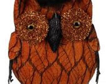 8.25 Inch Black Orange Velvet Net Glitter Owl XY6992, Halloween Decor, Deco Mesh Supplies