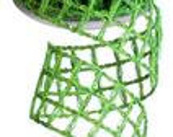 2.5 Inch Apple Metallic Square Jute Ribbon RW6371F8,  Burlap Ribbons,  Deco Mesh Supplies