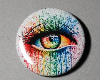2.25 inch Pin Back Button - Eye Candy - Colorful Rainbow Punk Rock Edgy Eye Art Pin