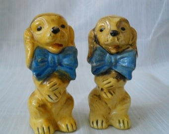 Vintage Dog Salt and Pepper Shakers - collectible, animal, Japan