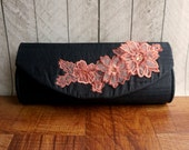 Clearance. Black and pink flower clutch,  lace flower applique, Black clutch, silk clutch, formal clutch purse, coral and pink