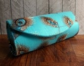Turquoise clutch, Peacock clutch, silk clutch bag with embroidered lace overlay, Lace clutch, summer fashion.