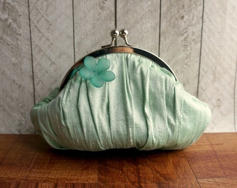 Clearance. Mint green clutch, personalized clutch, heart charm, evening bag, small green wristlet, silk clutch with flower, prom purse