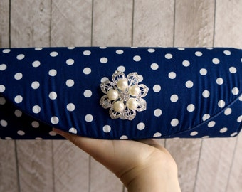 Polka dot clutch, pearl clutch bag, Navy blue and white, Wedding clutch, nautical wedding