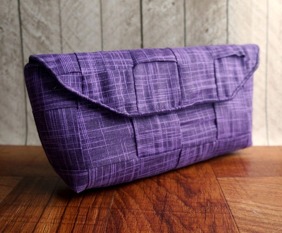 Clearance. Purple clutch, linen clutch, woven clutch purse, clutch bag in tweed pattern, purple purse, gift for her