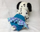 Female Dog Diaper Britches Pet  Panties Wrap Skirt Size XSmall To 2XLarge Lavender Teal Plaid