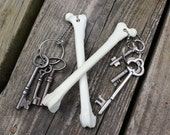 resin replica fox femur bone keychain