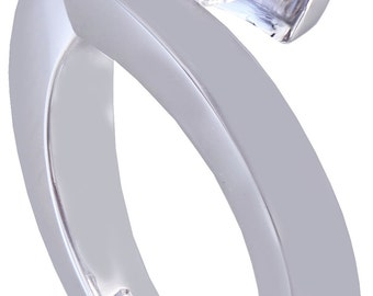 14K White Round Diamond Engagement Ring Tension Set Solitaire 1.00ctw