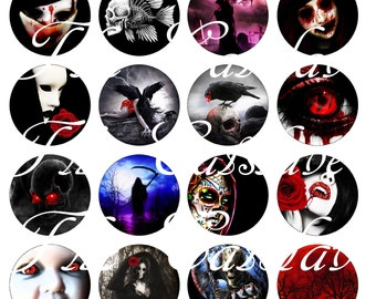 """Gothic Magnets, Gothic Wedding Pins, Gothic Night Pins Badges, Gothic Night Magnets, Gothic Night, 1"""" Inch Flat Backs or Hollow Backs, 12 ct"""